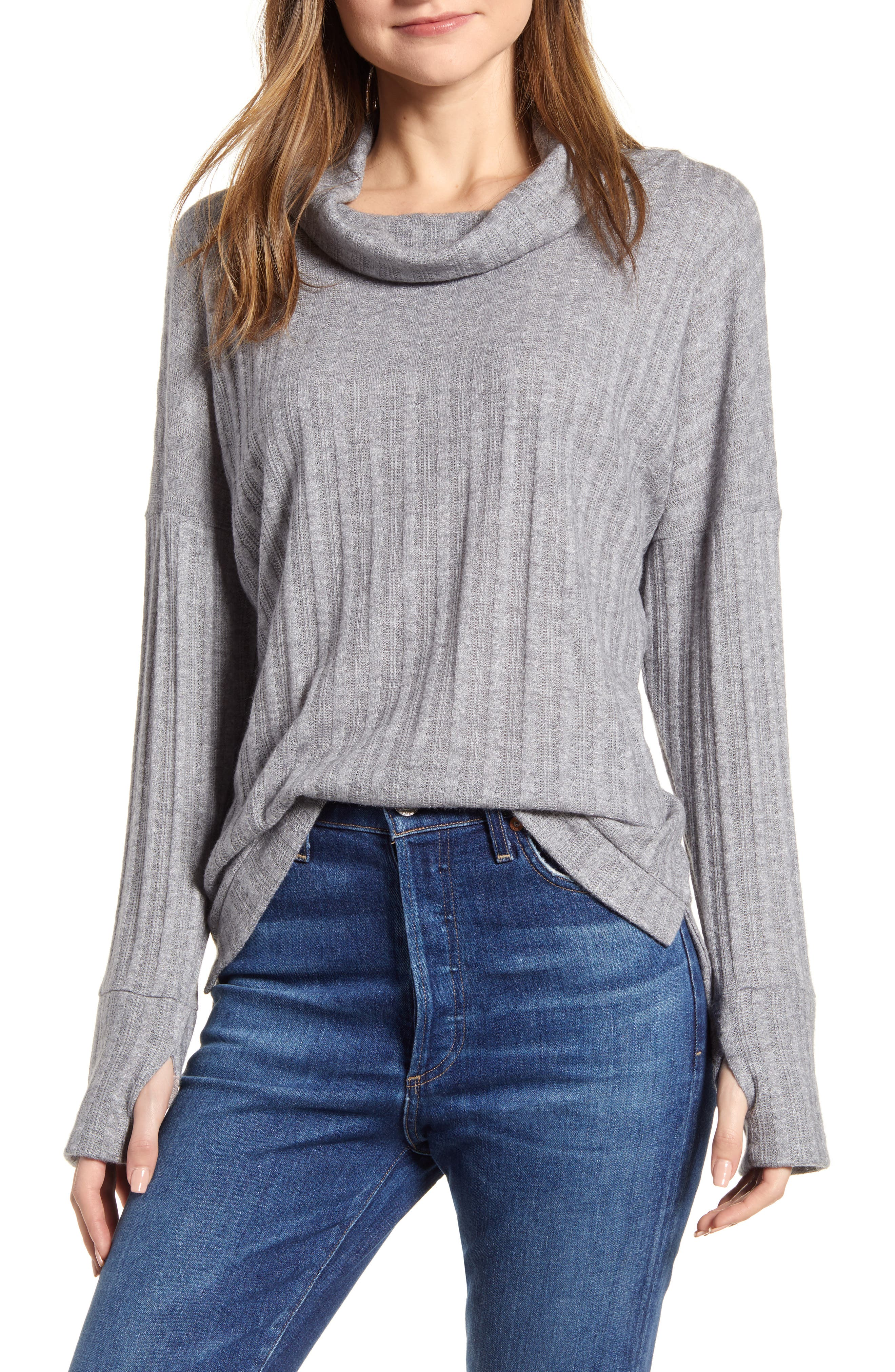 Women's Loveapella Pointelle Ribbed Cowl Neck Top