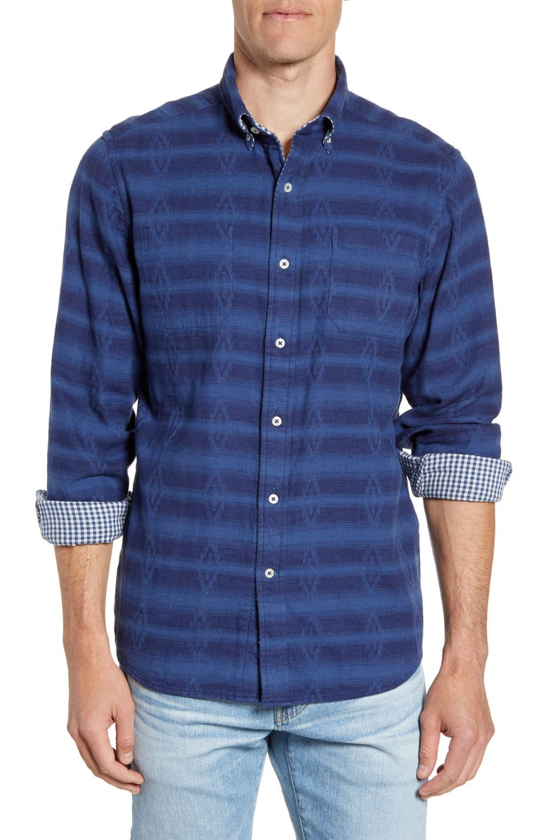 SOUTHERN TIDE Whispering Pines Reversible Regular Fit Button-Down Sport Shirt, Main, color, SEVEN SEAS BLUE