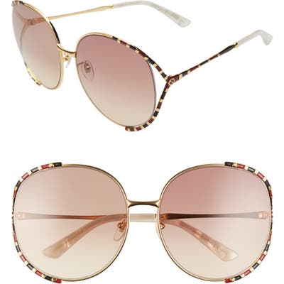Gucci Oversize Round Sunglasses - Yellow Gold/ Brown