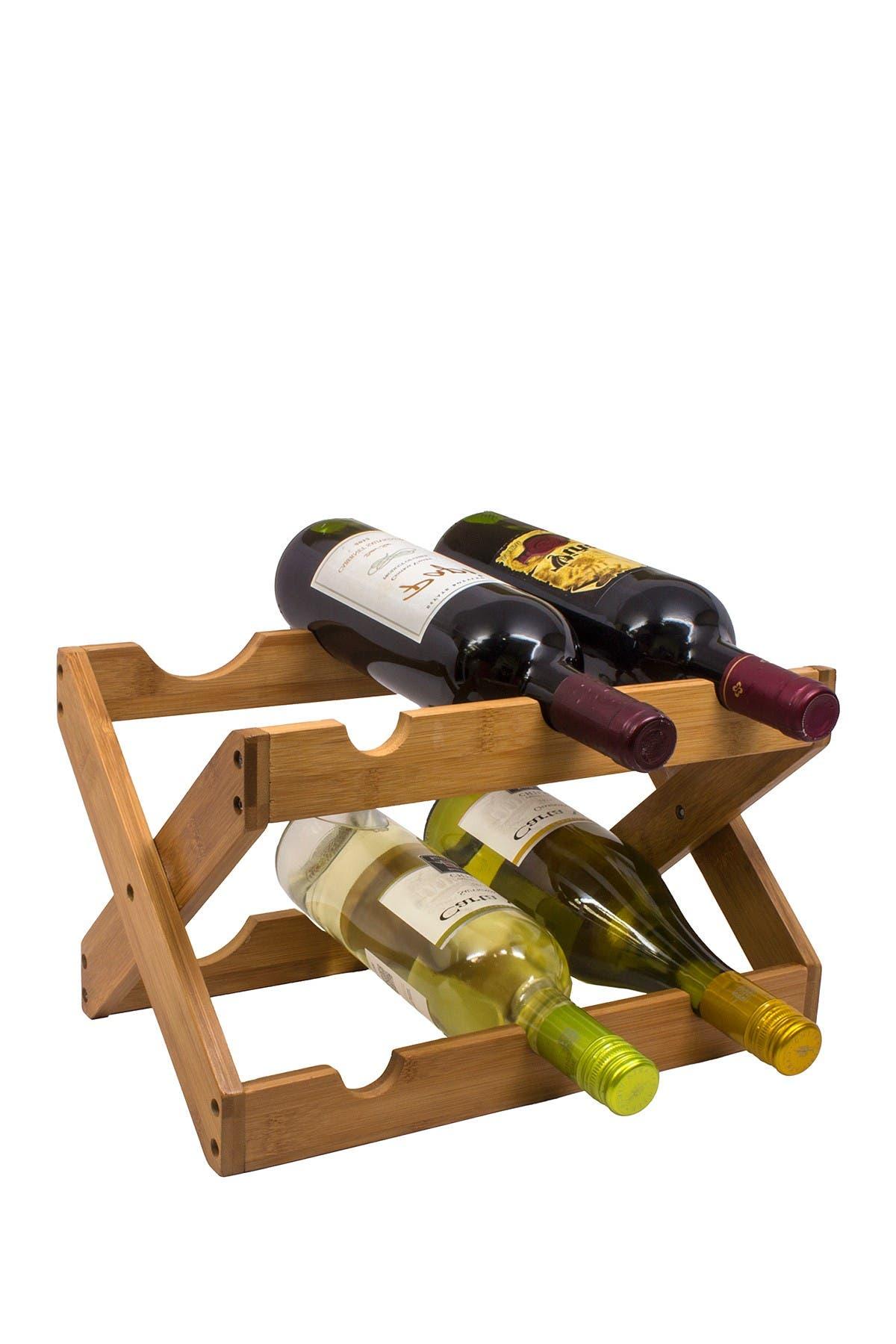 Image of Sorbus 6 Bottle Bamboo Foldable Countertop Wine Rack