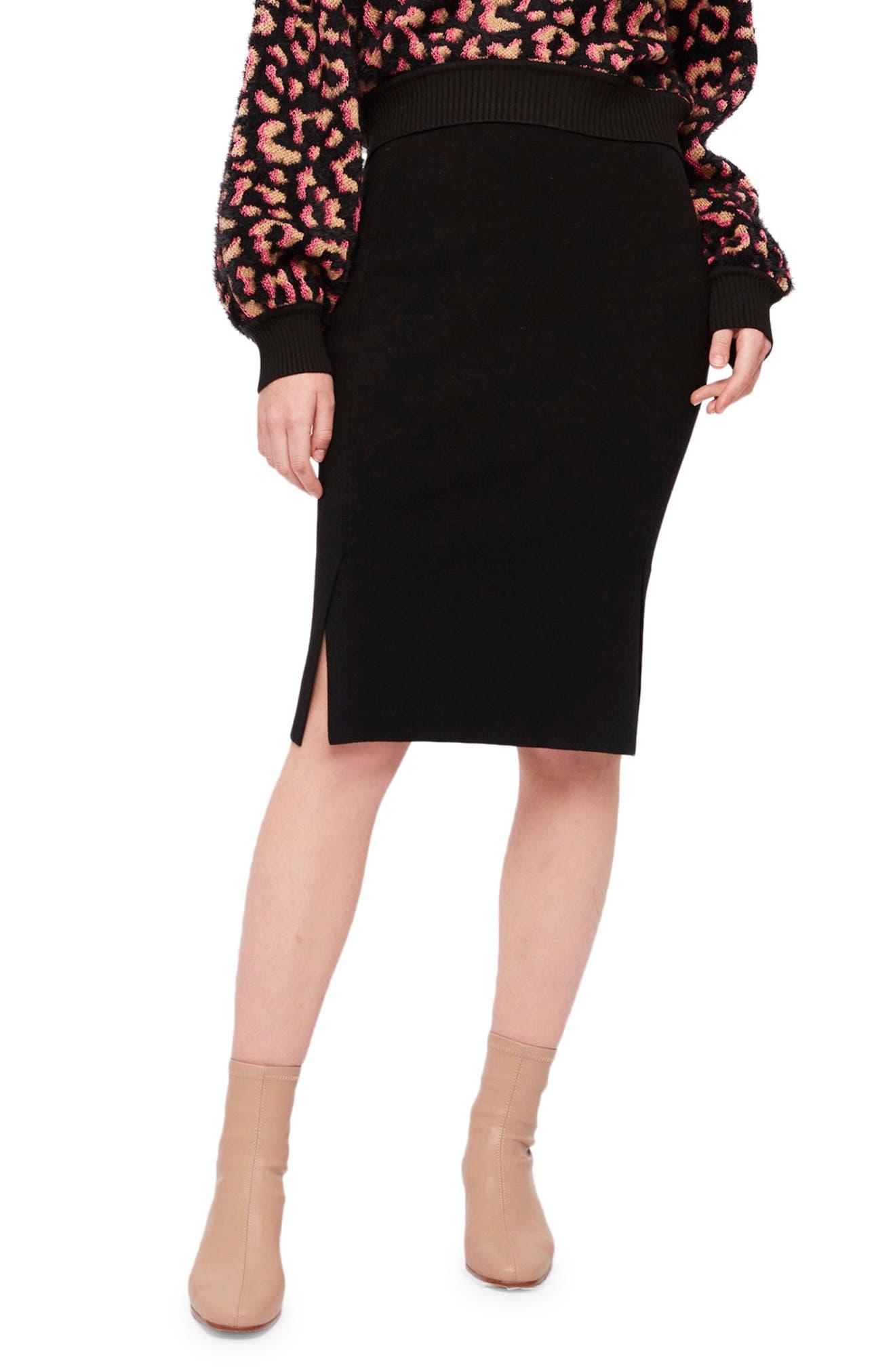 Tamia Wool Blend Pencil Skirt