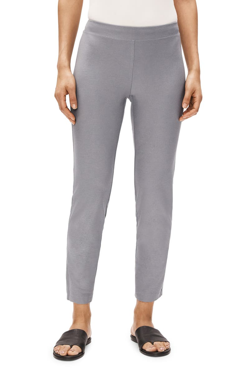 EILEEN FISHER Stretch Crepe Slim Ankle Pants, Main, color, ZINC