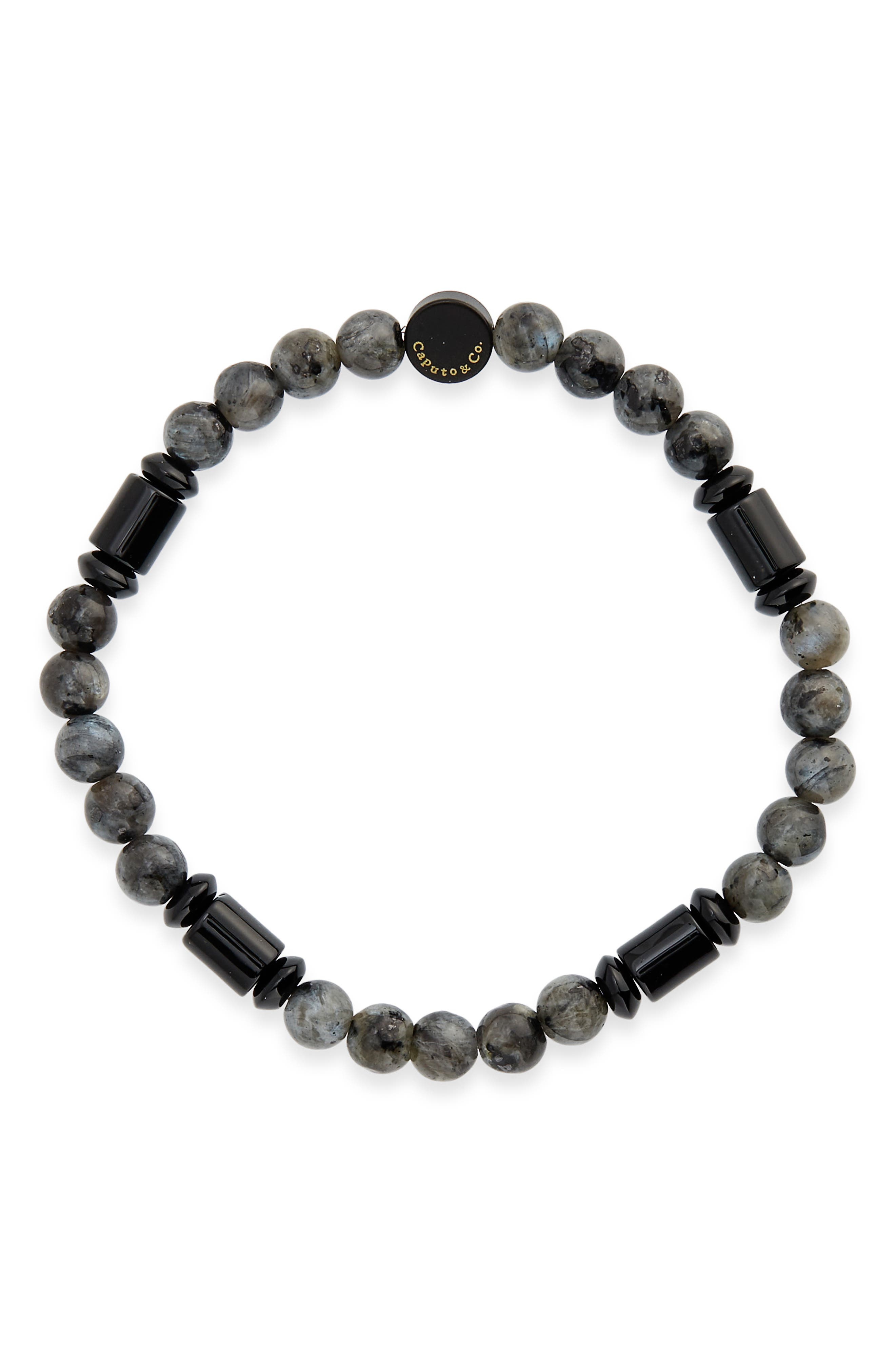 Men's Barrel Stone Beaded Stretch Bracelet