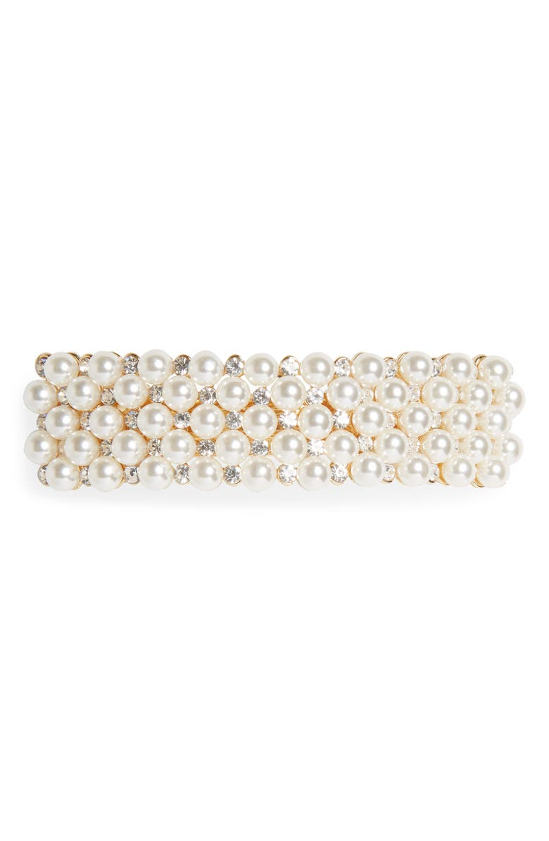 TASHA Crystal & Imitation Pearl Embellished Barrette, Main, color, 710