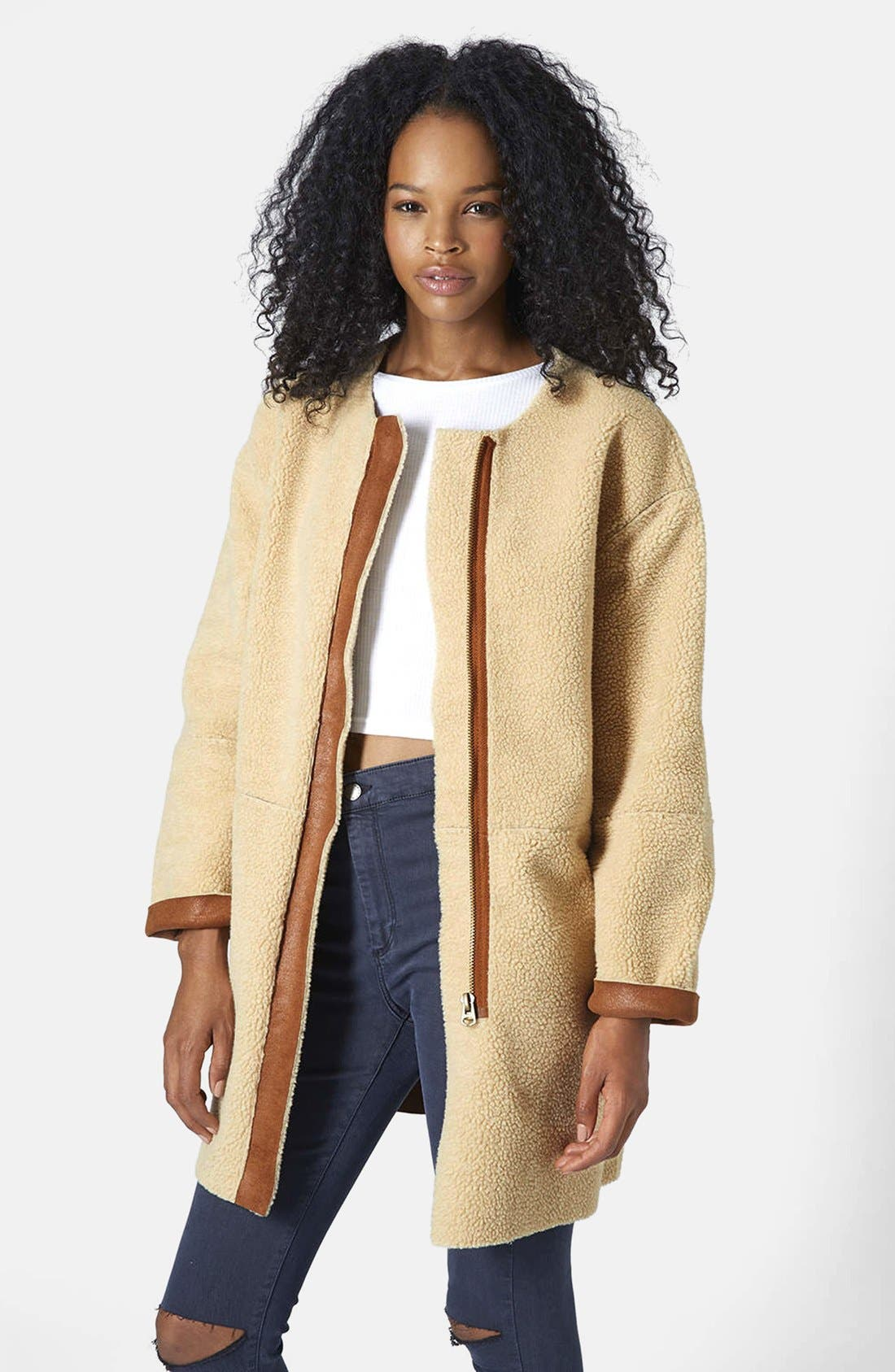 ,                             Faux Shearling Cocoon Jacket,                             Main thumbnail 11, color,                             210