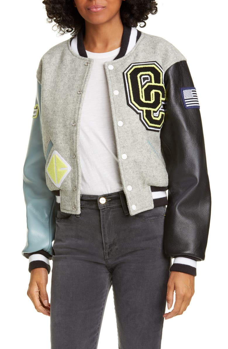 OPENING CEREMONY Shrunken Varsity Jacket, Main, color, HEATHER GREY