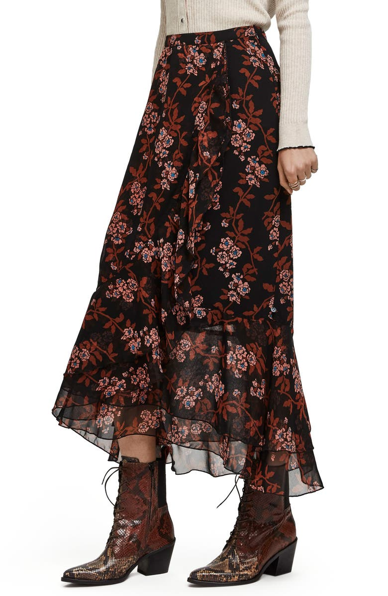 SCOTCH & SODA Printed Ruffle Maxi Skirt, Main, color, 22-COMBO F