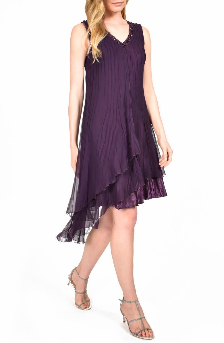 KOMAROV Asymmetrical Ruffle Charmeuse Dress, Main, color, AUBERGINE