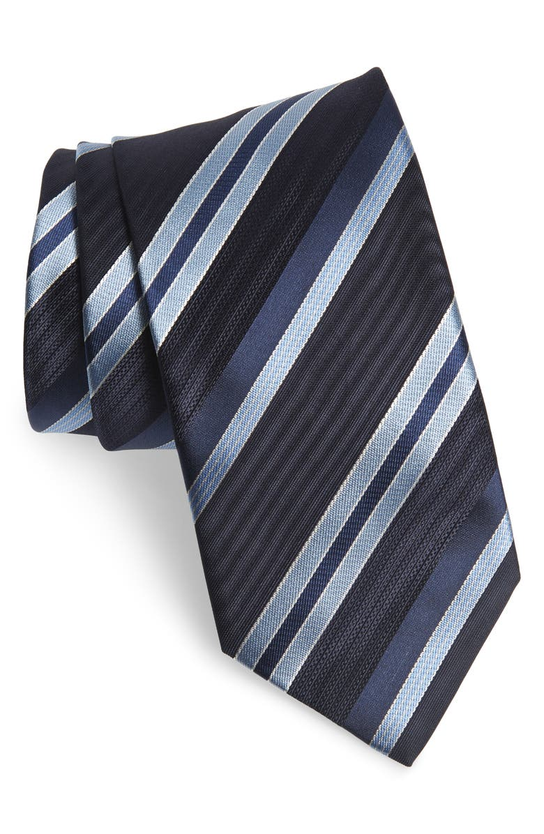 BRIONI Stripe Silk Tie, Main, color, BABY BLUE