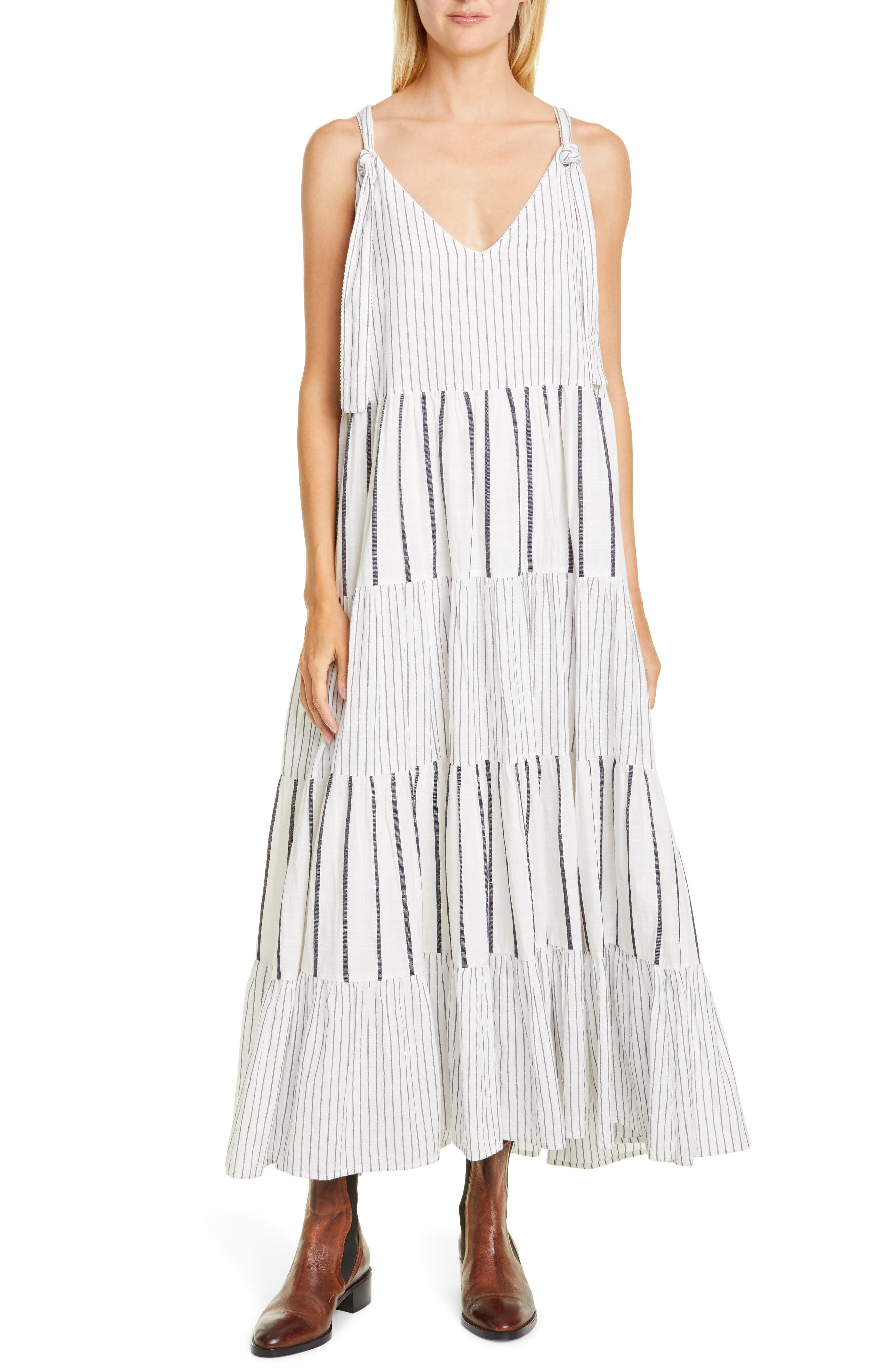 The Great. The Glen Stripe Tiered Maxi Dress, Grey