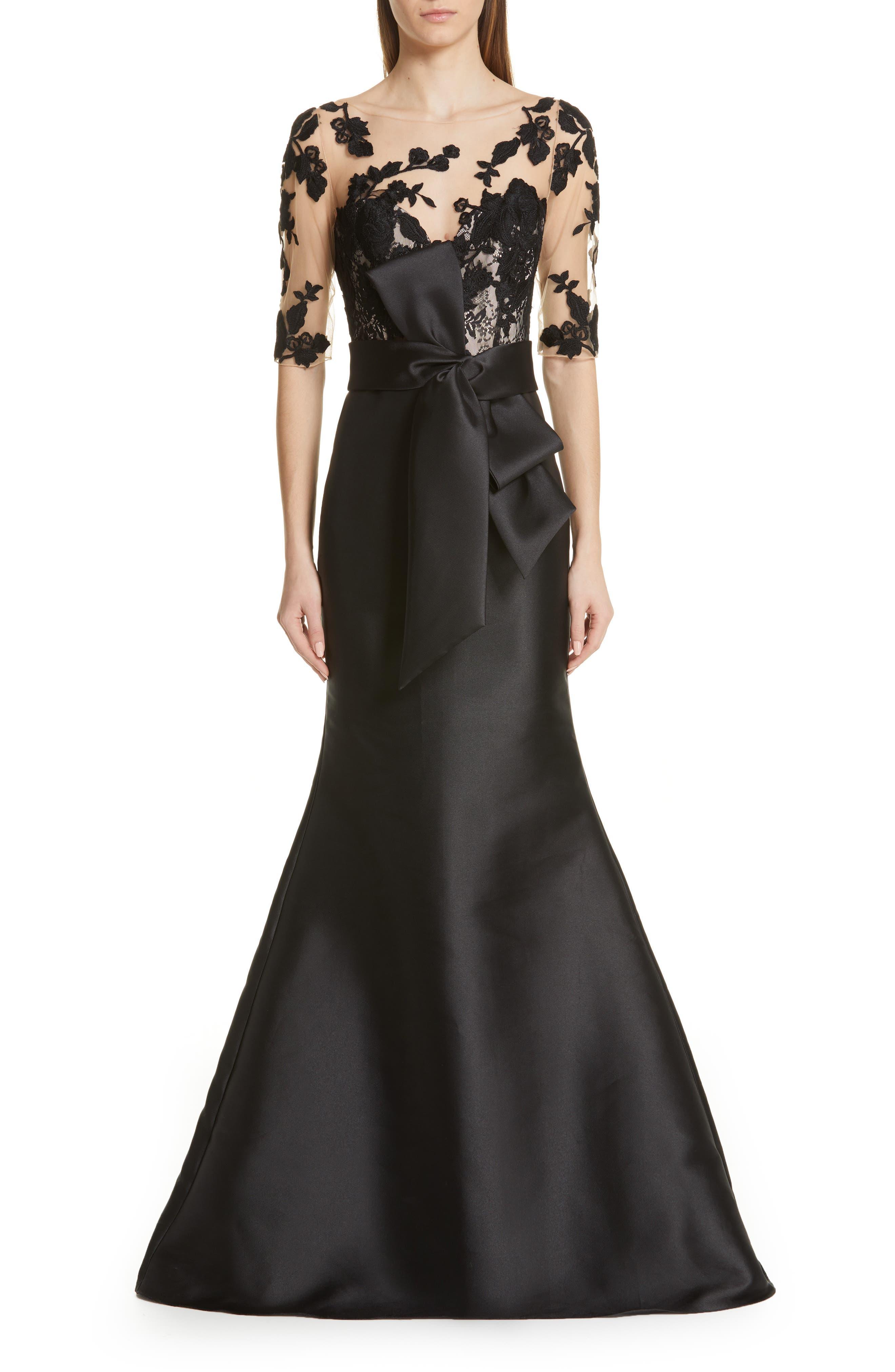 Badgley Mischka Lace Accent Bow Evening Dress, Black