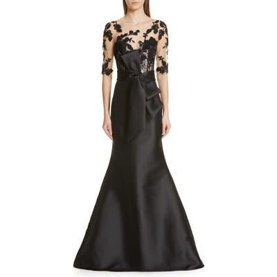 Badgley Mischka Lace Accent Bow Evening Dress