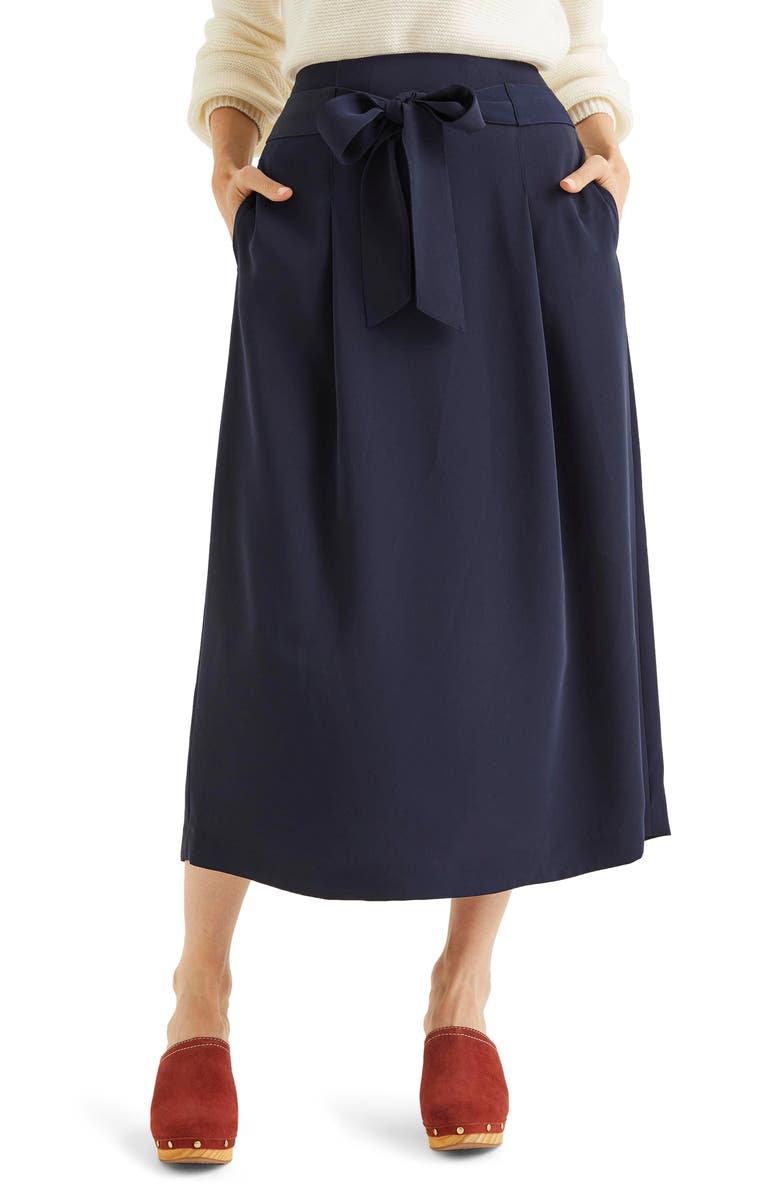 BODEN Becky Tie Waist Skirt, Main, color, NAVY
