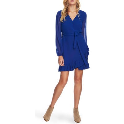 1.state Long Sleeve Mock Wrap Dress, Blue