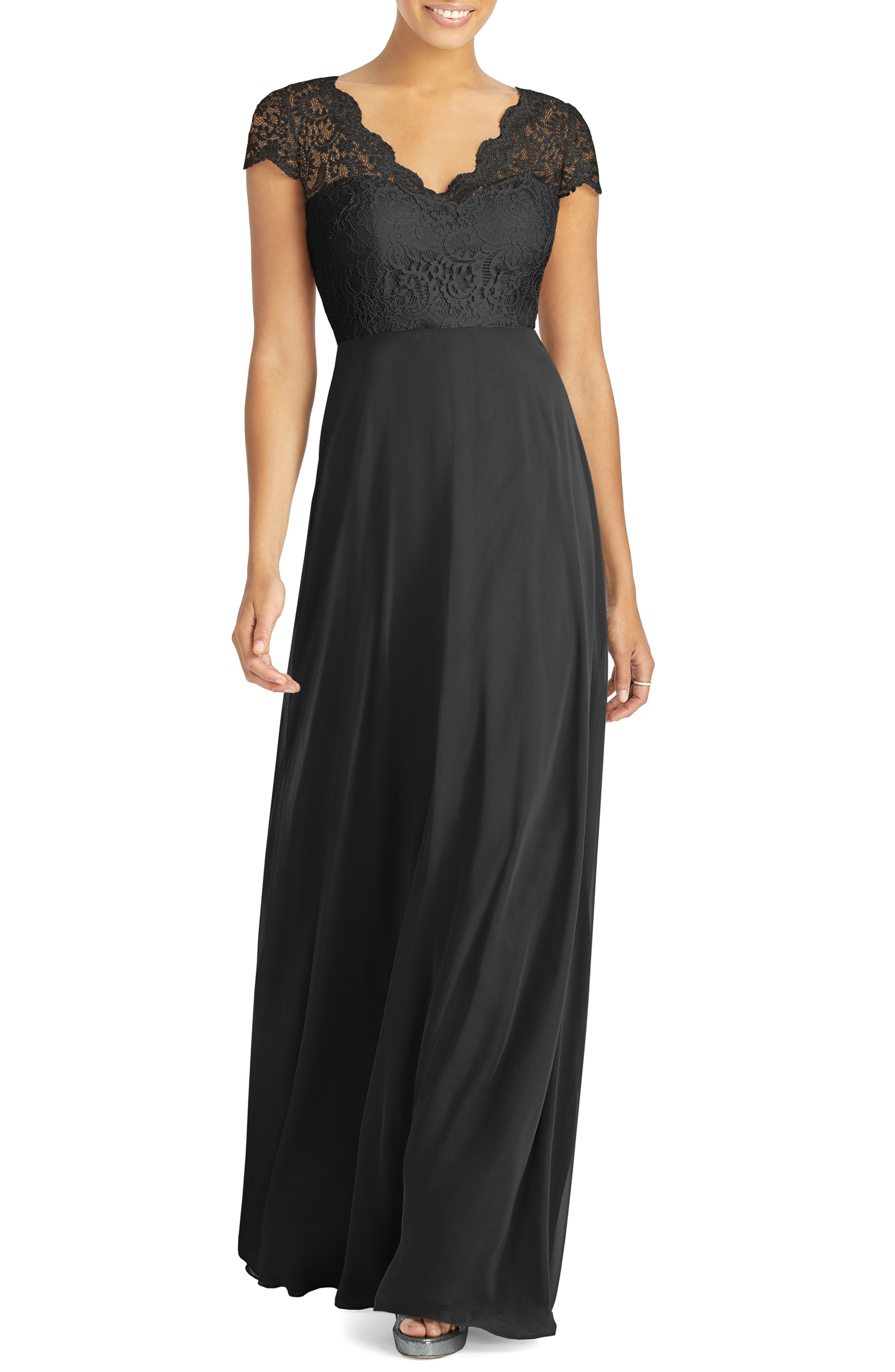 ,                             Cap Sleeve Lace & Chiffon Gown,                             Main thumbnail 1, color,                             BLACK