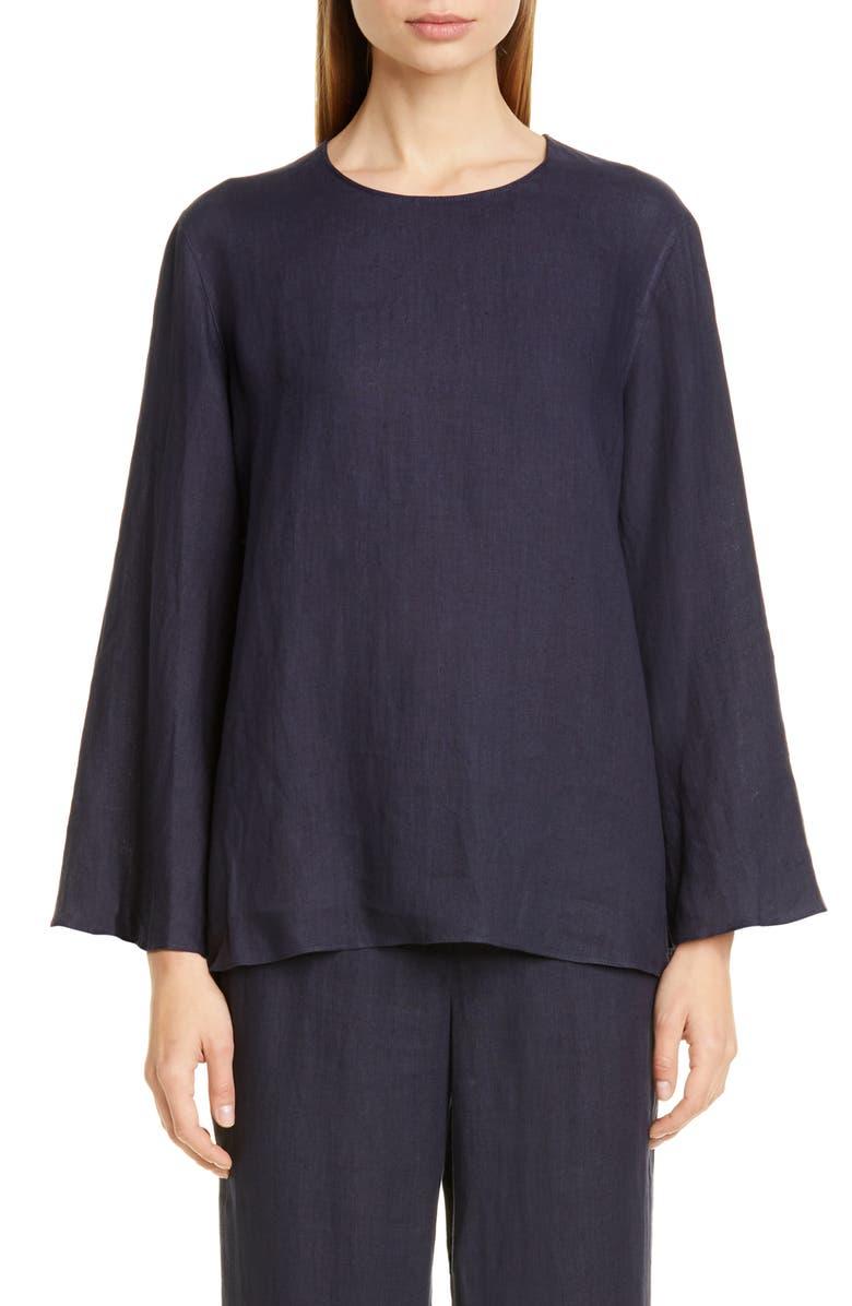 MANSUR GAVRIEL Bell Sleeve Linen Blouse, Main, color, 460