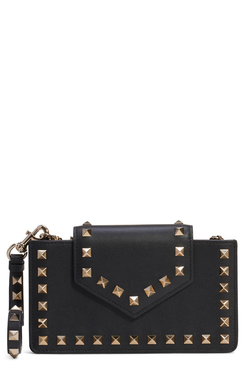 VALENTINO GARAVANI Rockstud Leather Smartphone Case, Main, color, NERO