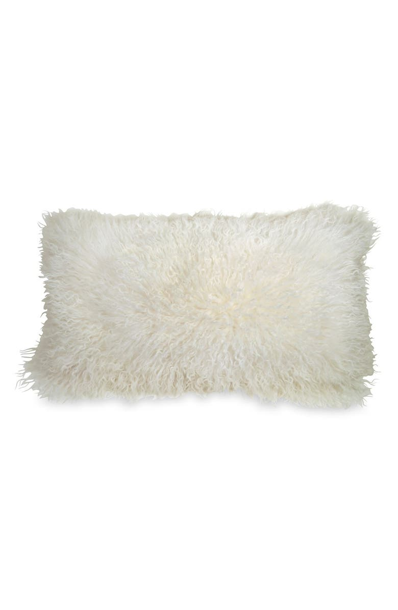 DONNA KARAN NEW YORK Donna Karan Collection Moonscape Flokati Genuine Sheepskin Pillow, Main, color, IVORY