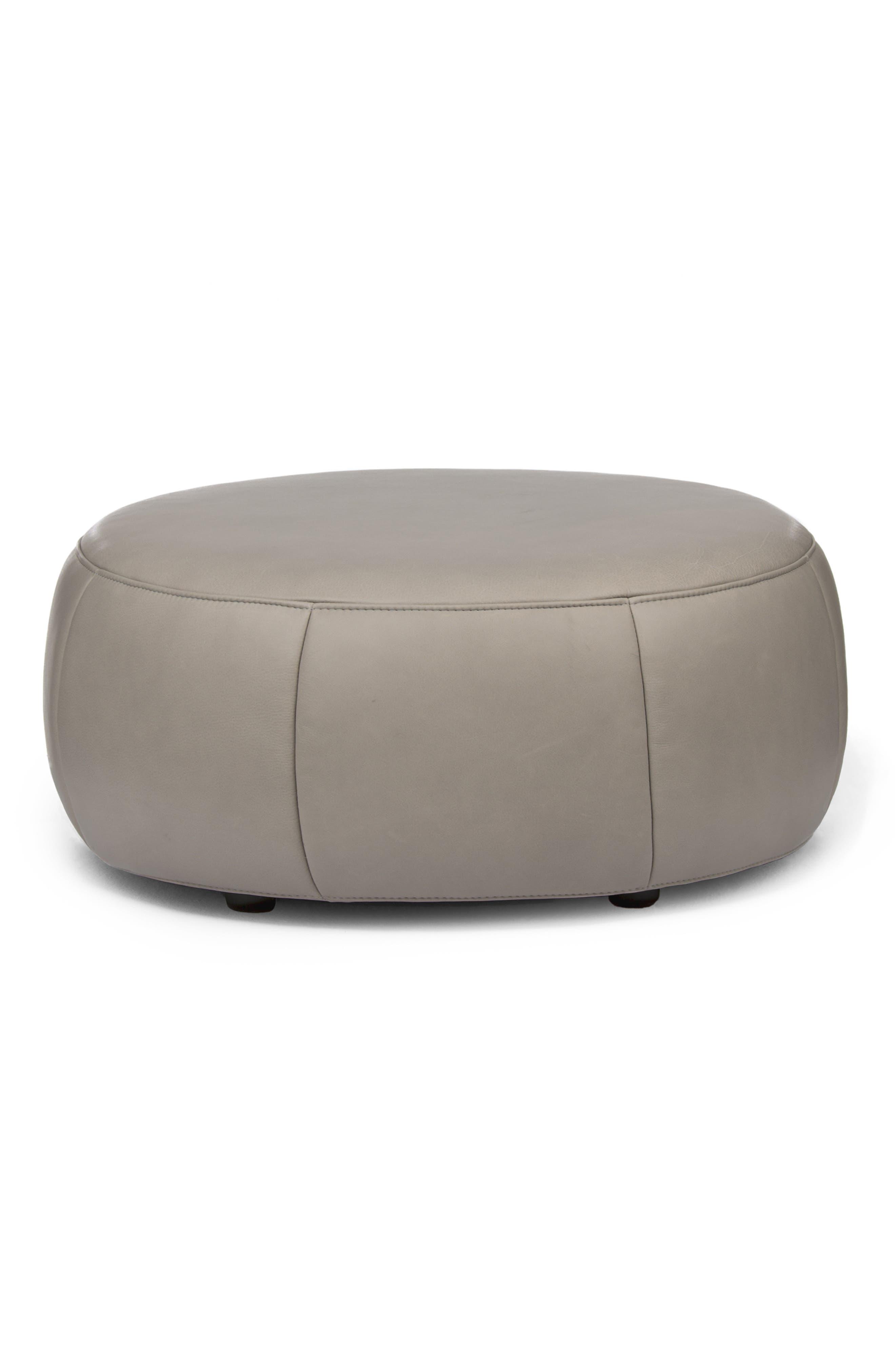 Barrell Leather Ottoman, Main, color, LOXTON GLACIER