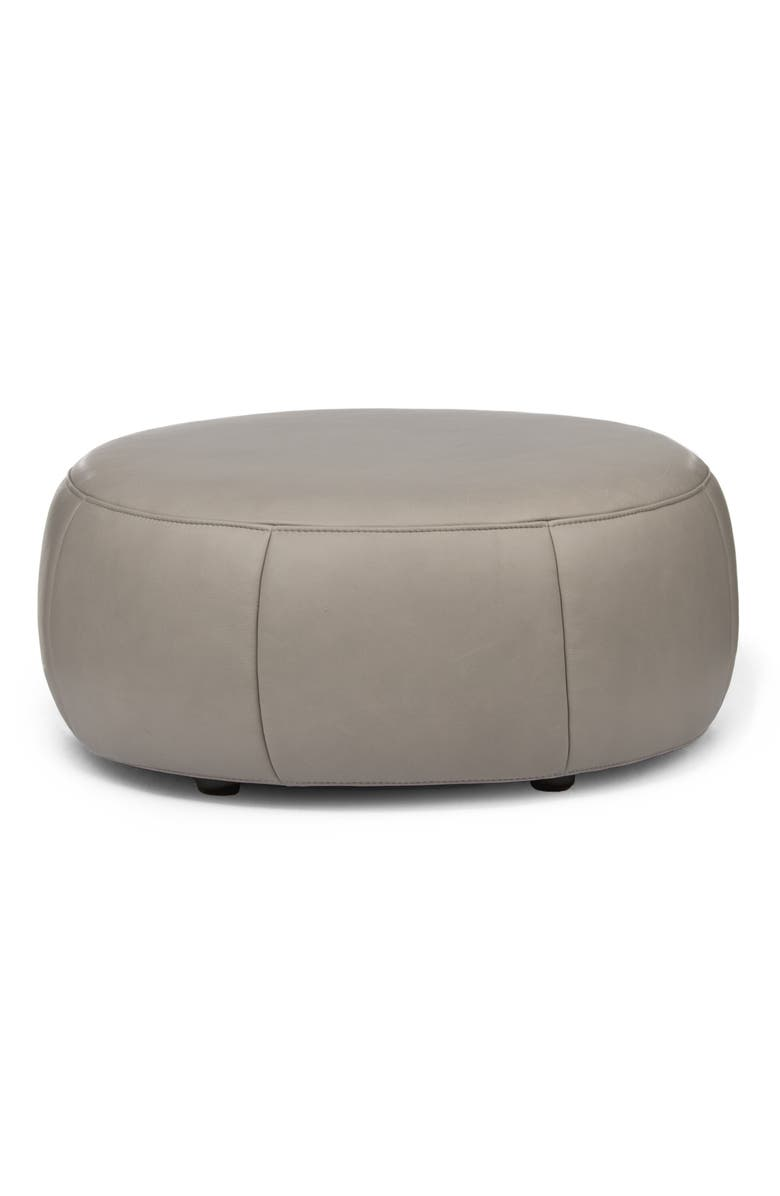 DESIGN ON STOCK USA Barrell Leather Ottoman, Main, color, LOXTON GLACIER