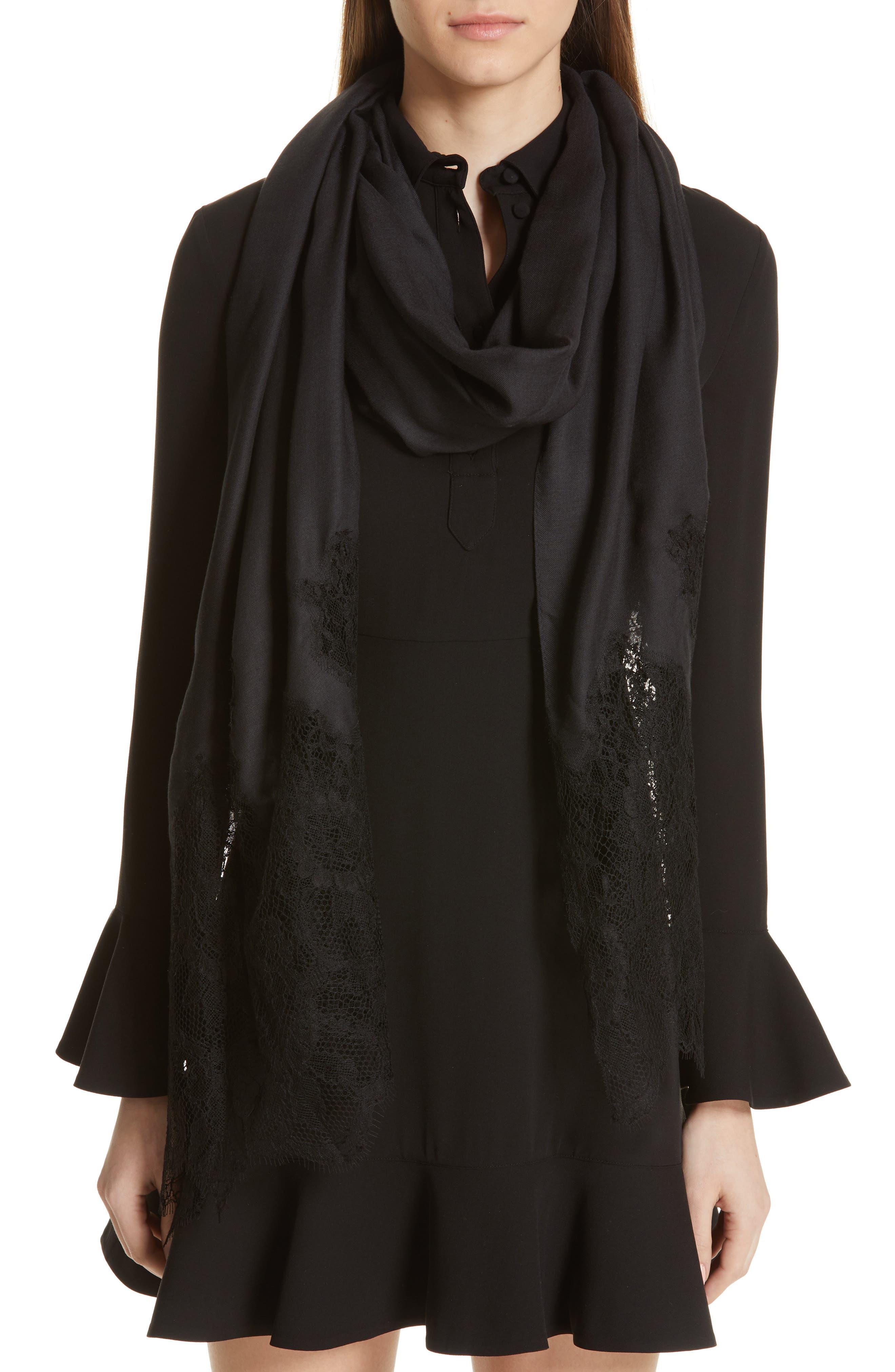 Valentino Lace Trim Modal & Cashmere Scarf In Black