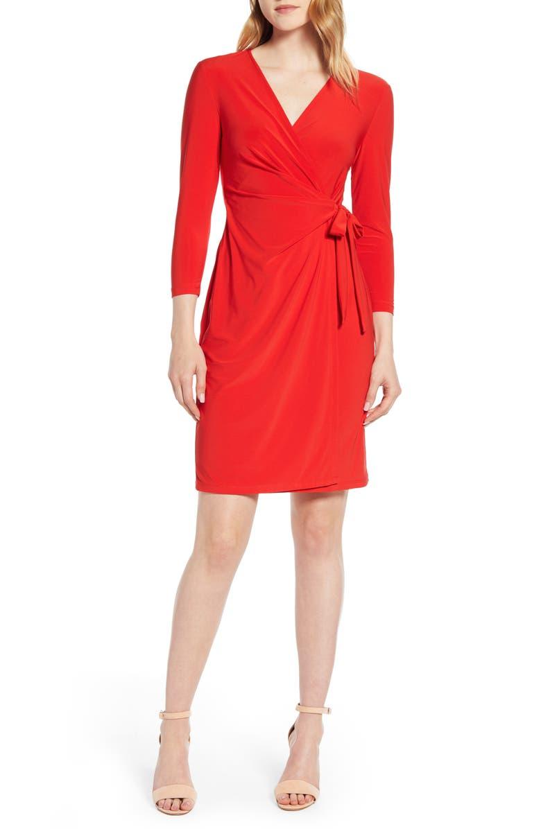 ANNE KLEIN Wrap Dress, Main, color, POPPY