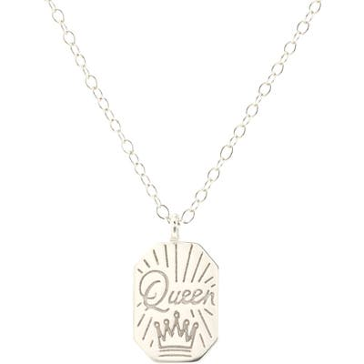 Kris Nations Queen Dog Tag Charm Necklace