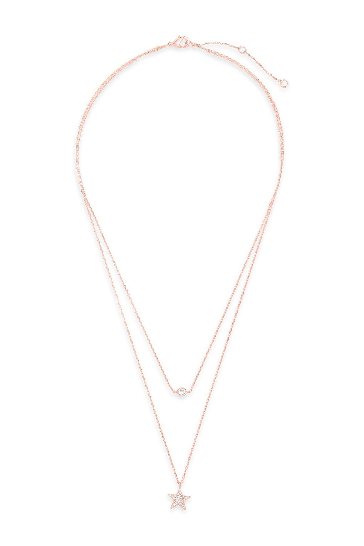Sterling Forever 14K Rose Gold Plated Star Pendant CZ Layered Necklace