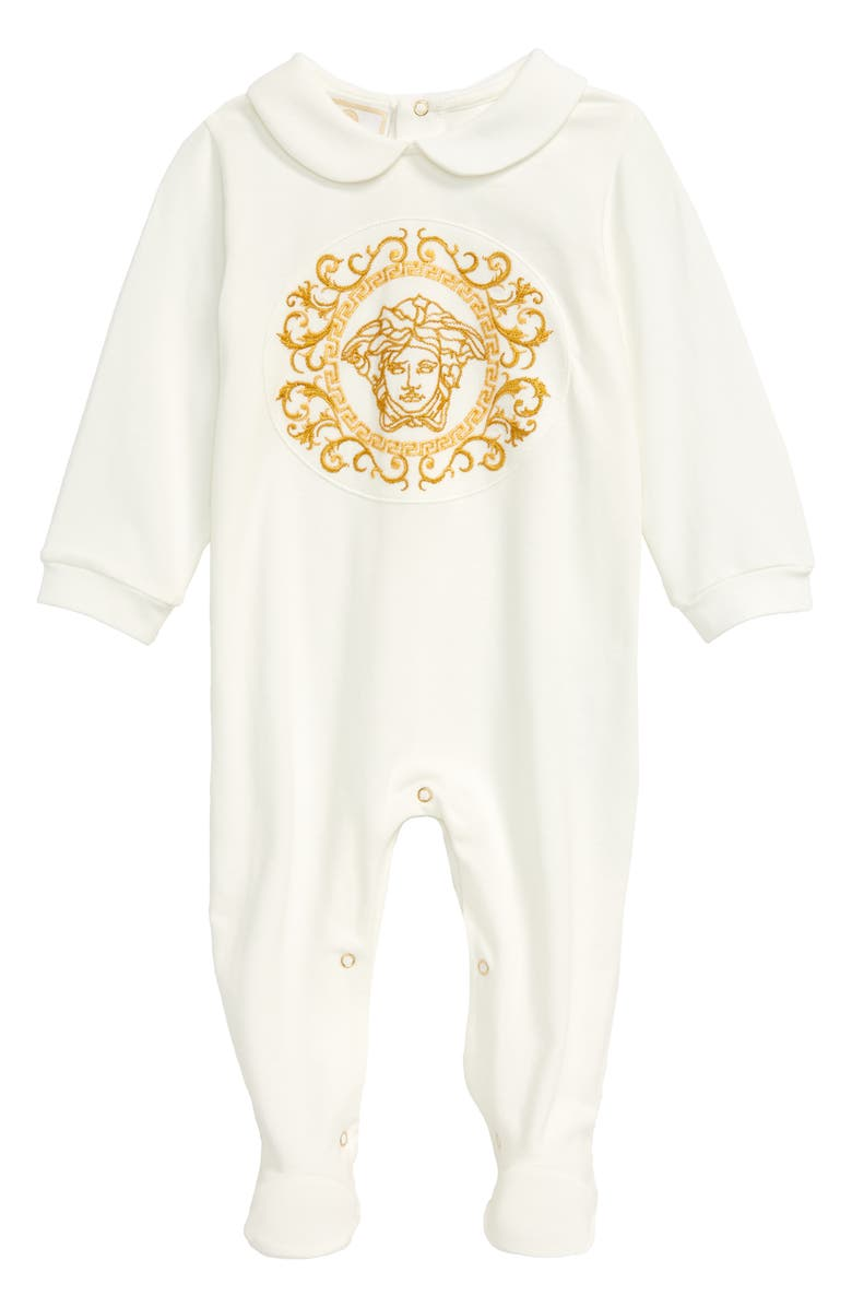 VERSACE Logo Embroidered Romper, Main, color, 110