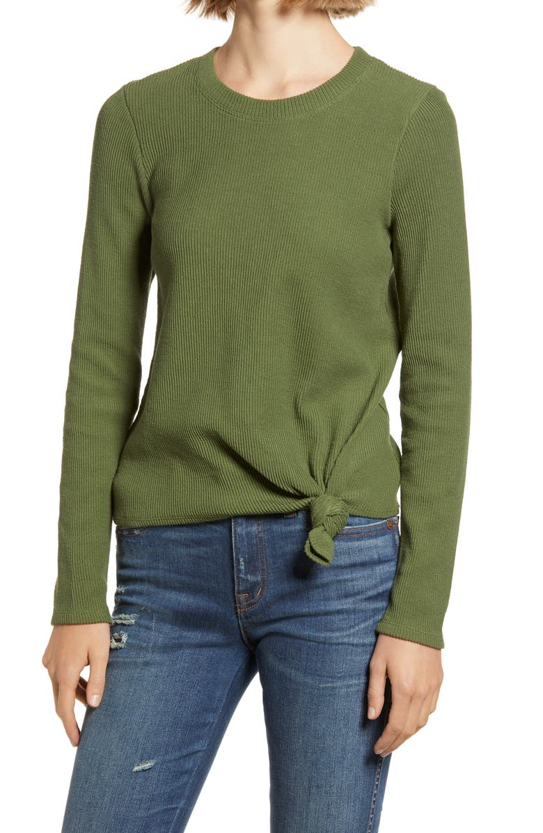 MADEWELL Texture & Thread Front Knot Jacquard Top, Main, color, PALM TREE