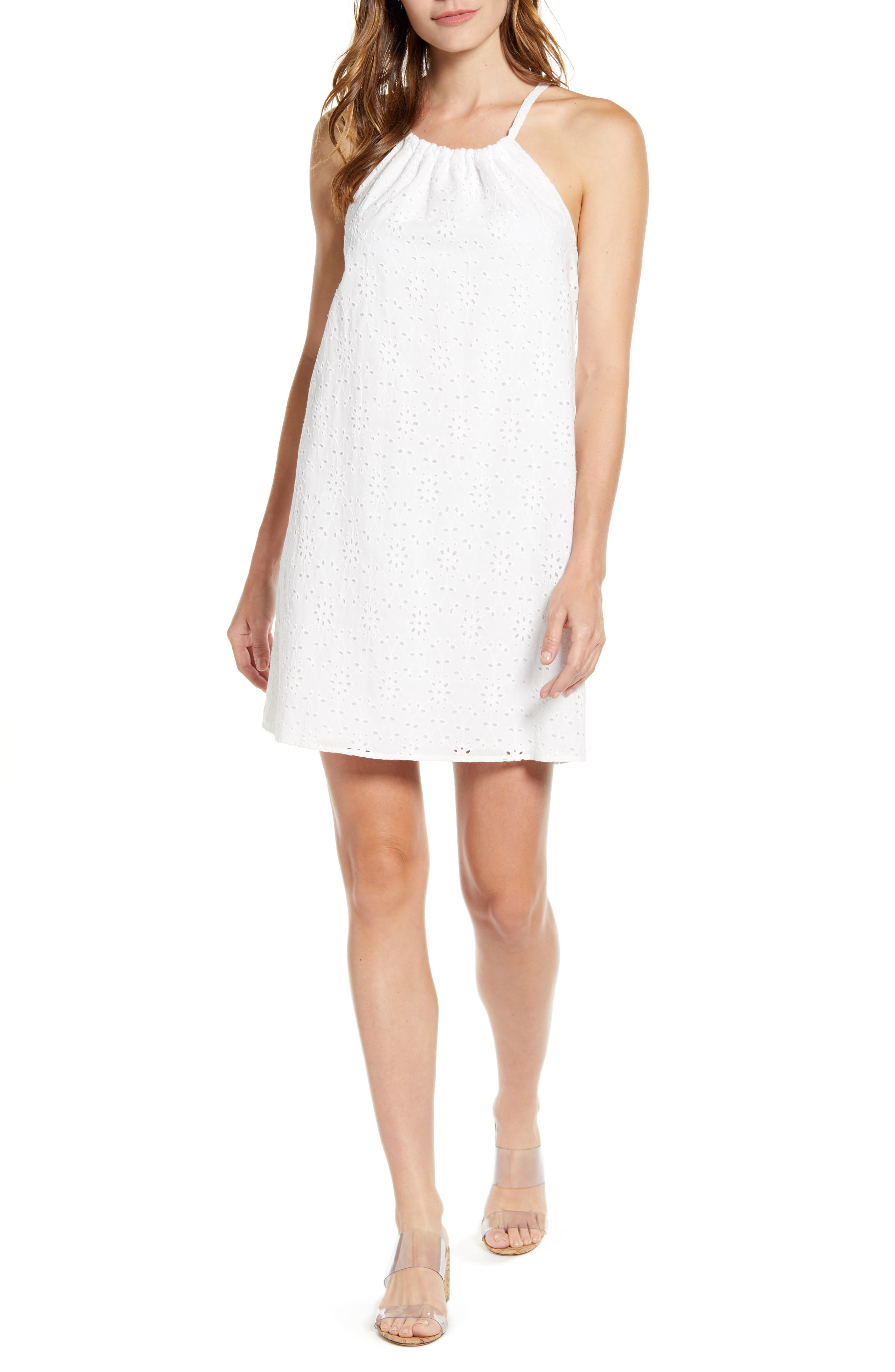 Gibson X Hot Summer Nights Two Peas Eyelet Halter Summer Dress, White (Regular & Petite) (Nordstrom Exclusive)