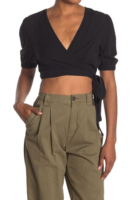 Image of BCBGeneration Surplice Neck Short Sleeve Woven Cropped Top