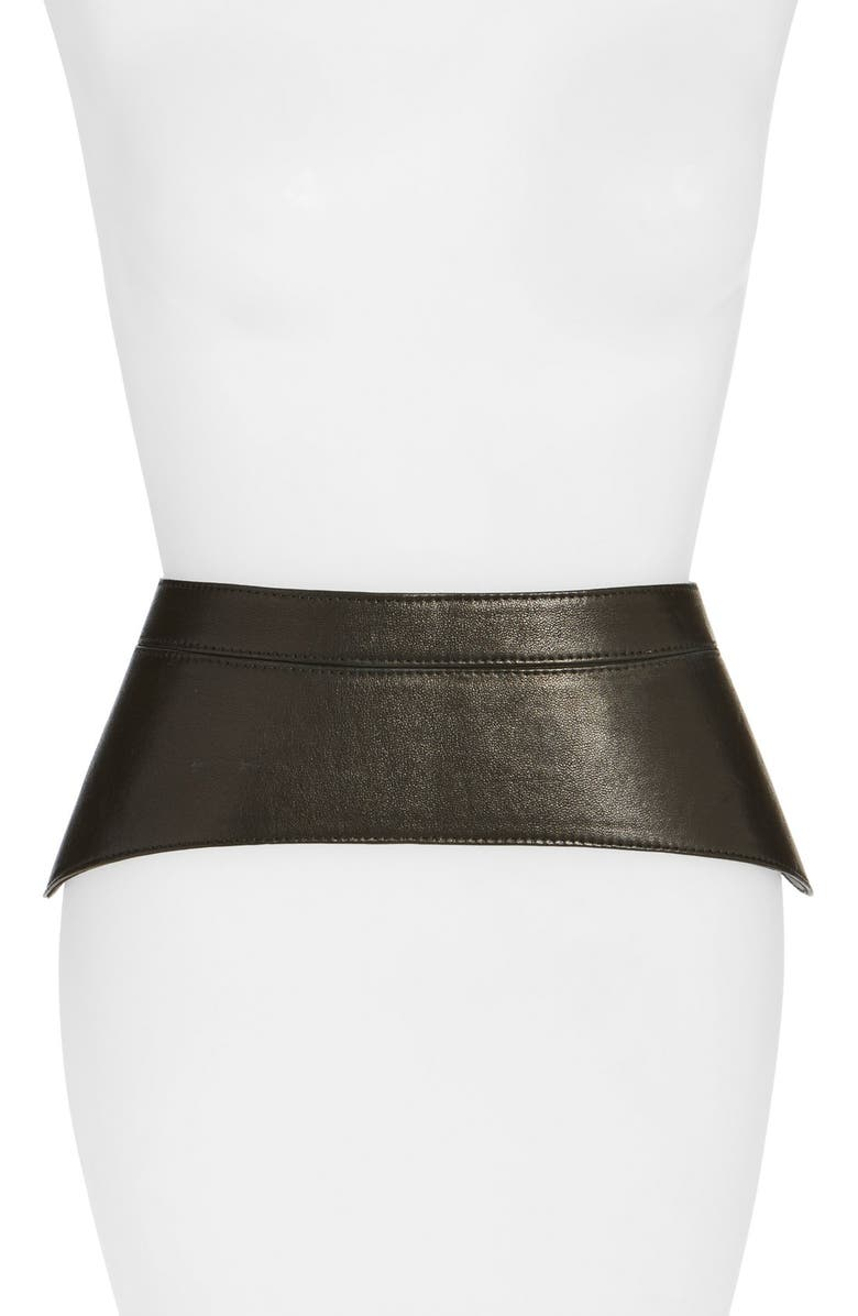 RAINA 'Peplum' Leather Corset Belt, Main, color, BLACK