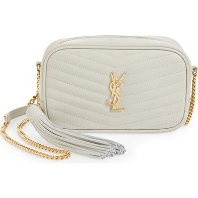Saint Laurent Mini Lou Quilted Leather Crossbody Bag - Ivory