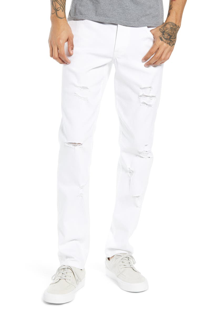 THE RAIL Ripped Skinny Fit Jeans, Main, color, WHITE LANCE WASH