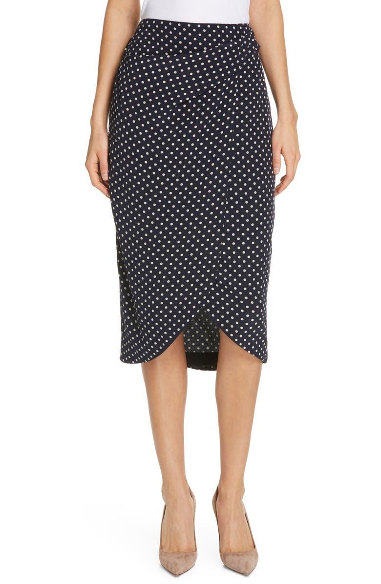 JUDITH & CHARLES Industrial Polka Dot Tulip Hem Skirt, Main, color, NAVY/ OFF-WHITE