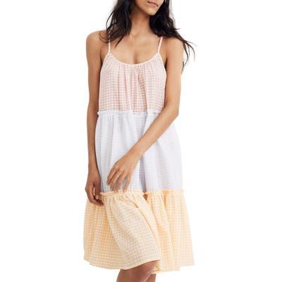 Madewell Colorblock Gingham Tiered Sleep Dress, Pink
