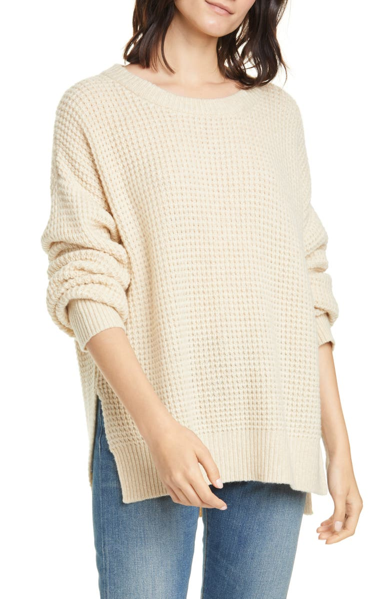 JENNI KAYNE Cameau Seattle Wool & Camel Hair Blend Crewneck Sweater, Main, color, WHEAT