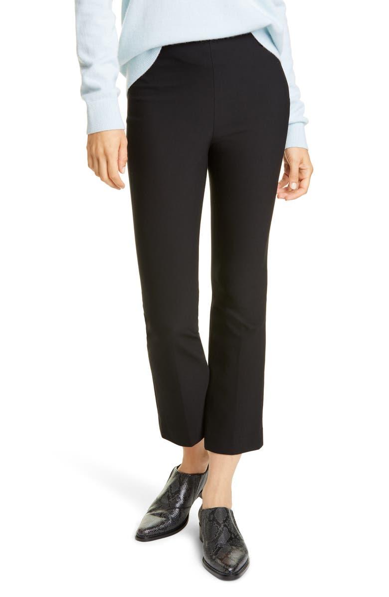 VINCE Stretch Cotton Blend Flare Crop Pants, Main, color, BLACK