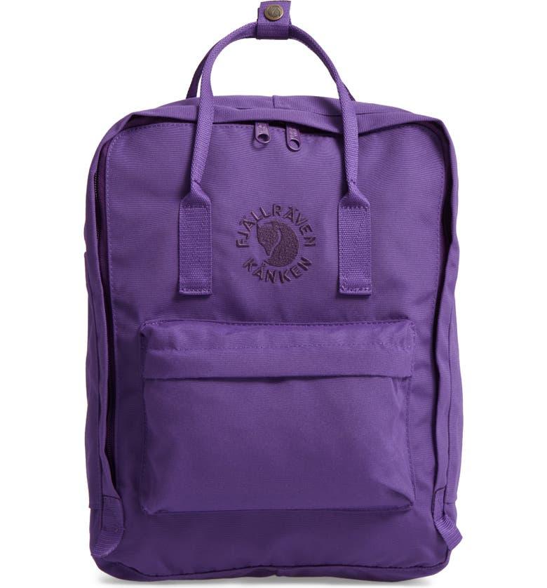 FJÄLLRÄVEN Re-Kånken Water Resistant Backpack, Main, color, DEEP VIOLET