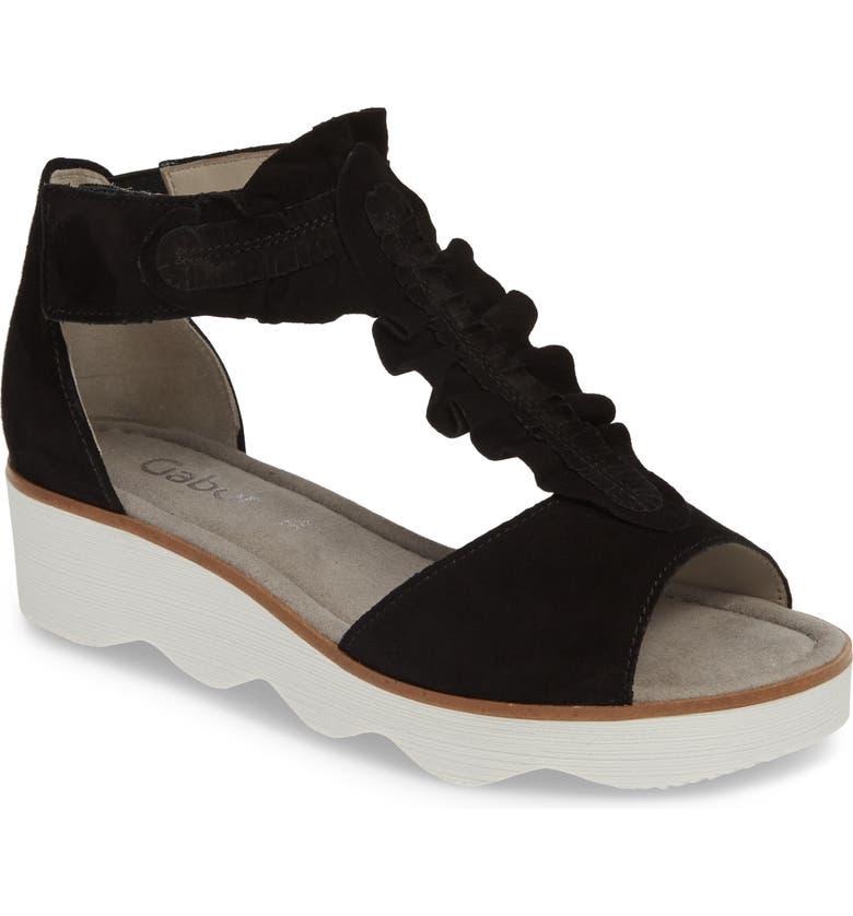 GABOR Wedge Sandal, Main, color, BLACK NUBUCK LEATHER