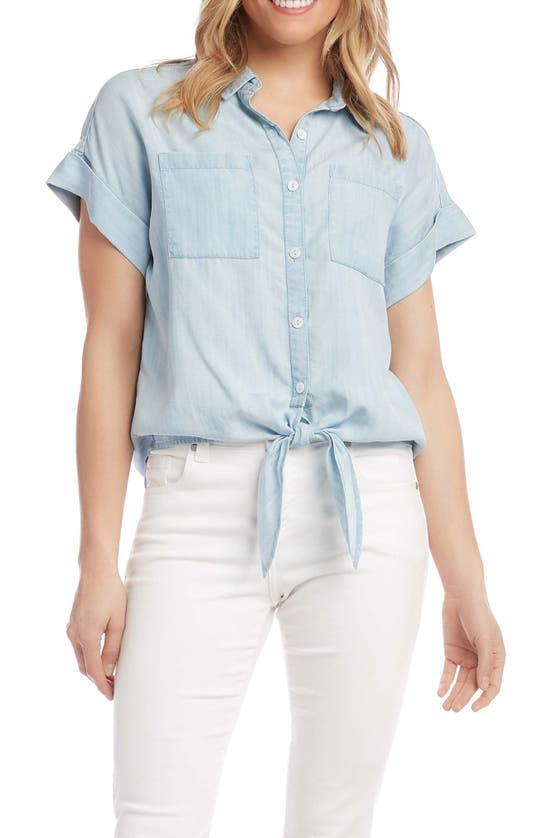 Karen Kane TIE FRONT CHAMBRAY BUTTON-UP SHIRT