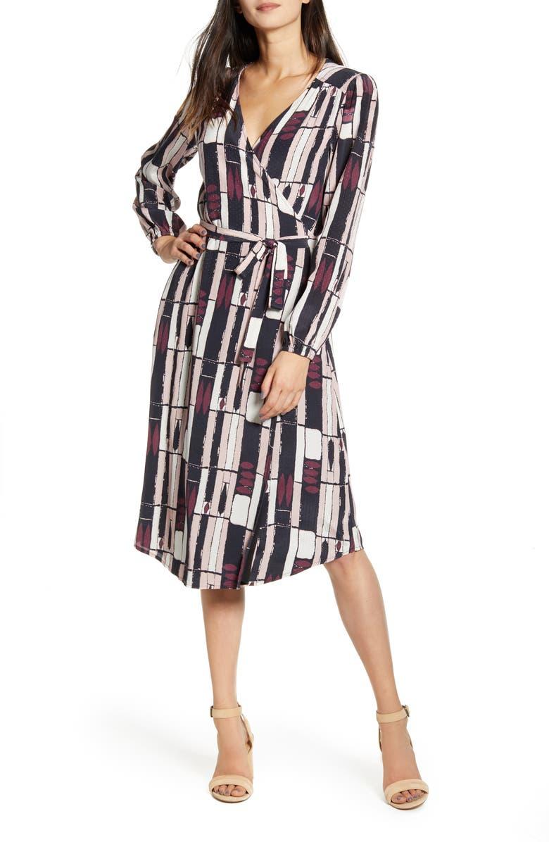 THE ODELLS Eva Long Sleeve Print Wrap Dress, Main, color, MUSEO