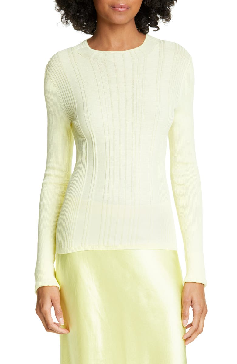 VINCE Variegated Rib Crewneck Sweater, Main, color, LEMON GLOW