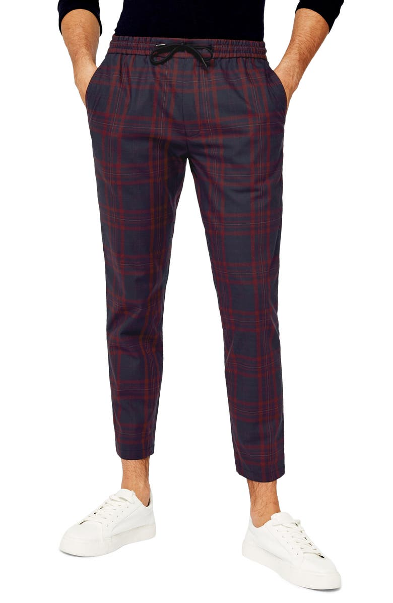 TOPMAN Whaytt Check Stretch Skinny Pants, Main, color, BURGUNDY