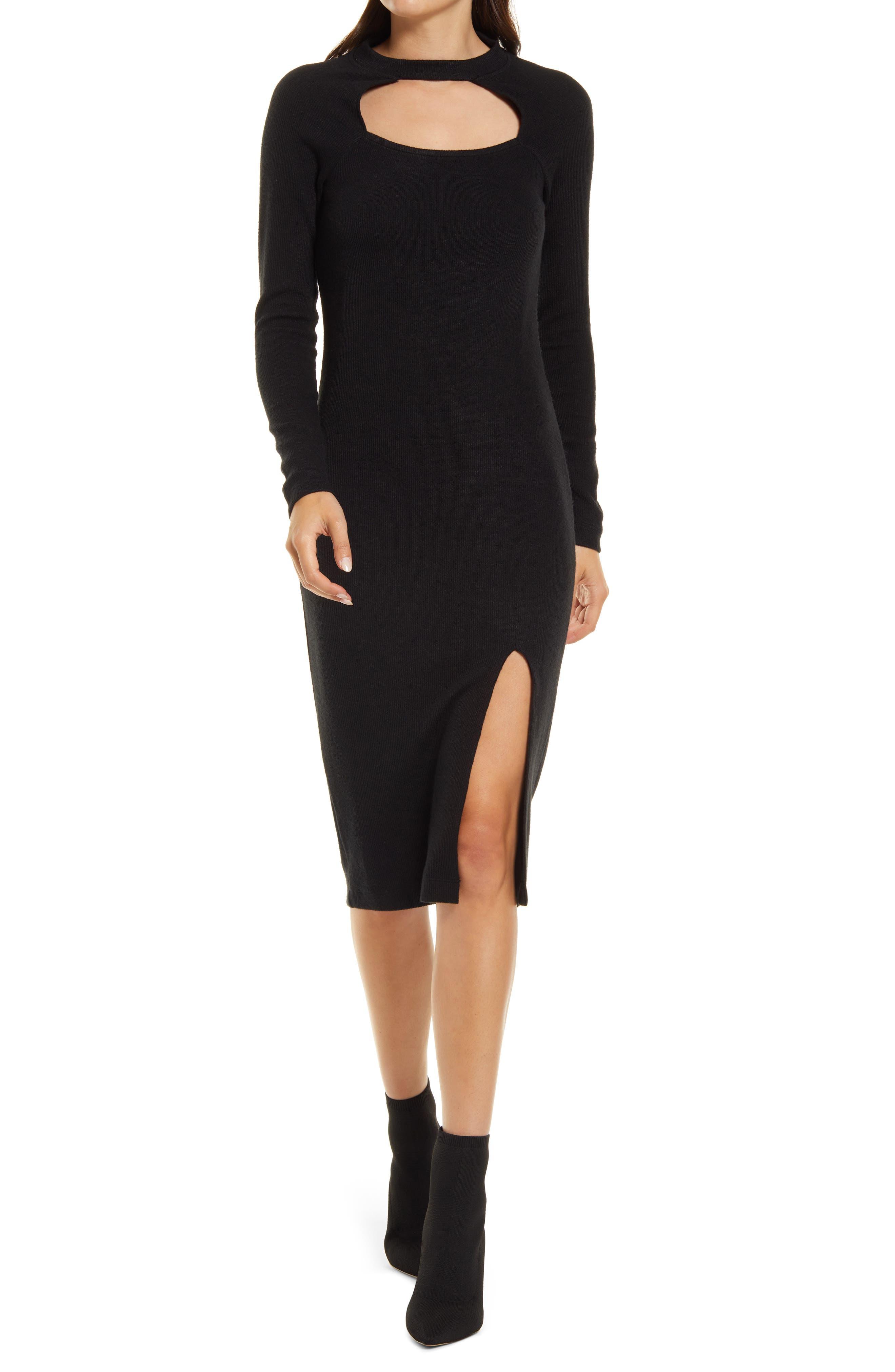 Mock Neck Cutout Long Sleeve Midi Sweater Dress