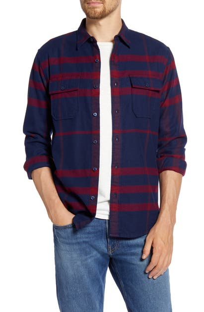 Frame T-shirts REFINED CLASSIC FIT PLAID FLANNEL BUTTON-UP SHIRT