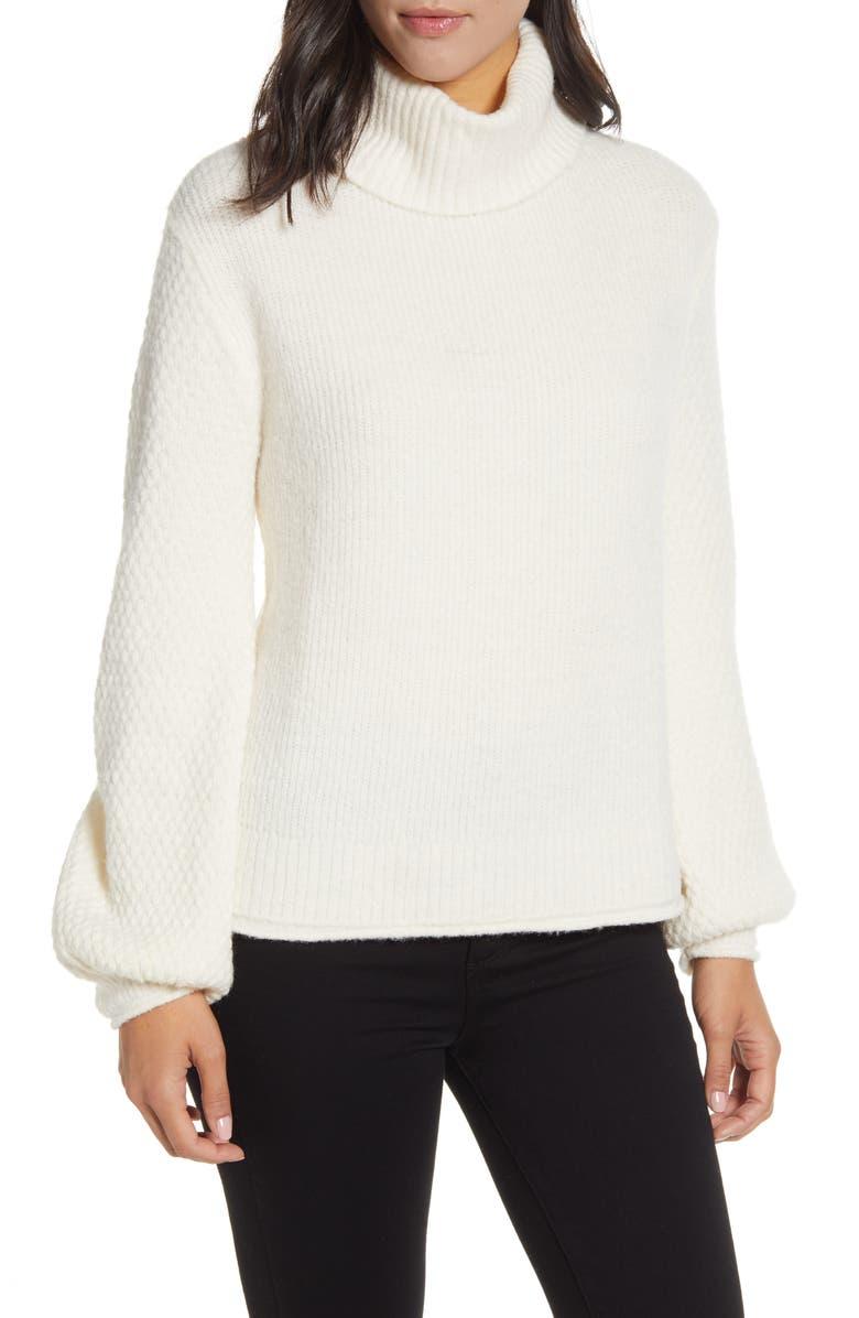 WIT & WISDOM Mix Stitch Balloon Turtleneck Lantern Sleeve Sweater, Main, color, OFF WHITE