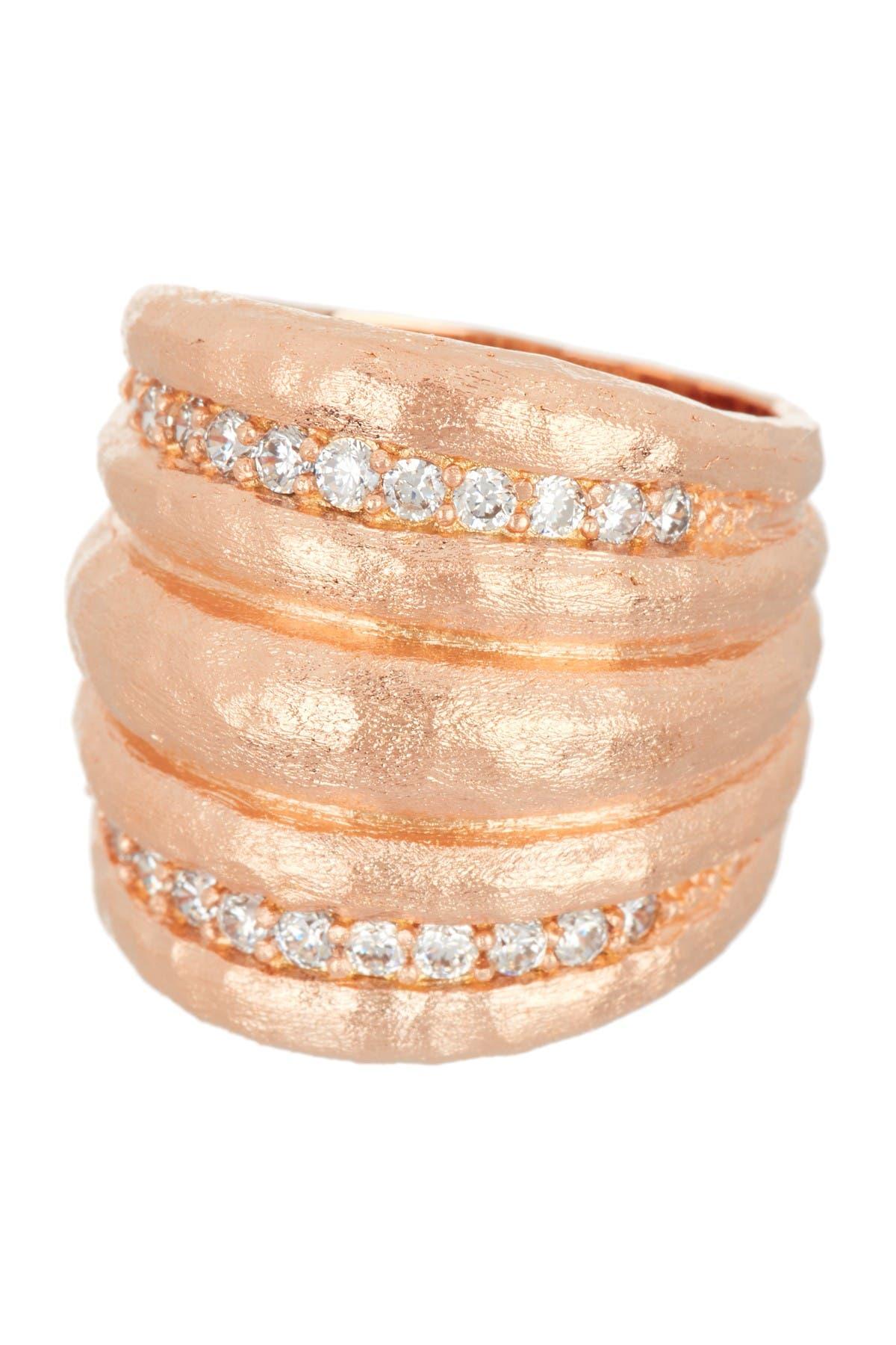 Image of Rivka Friedman 18K Rose Gold Clad Satin CZ East/West Ribbed Dome Ring