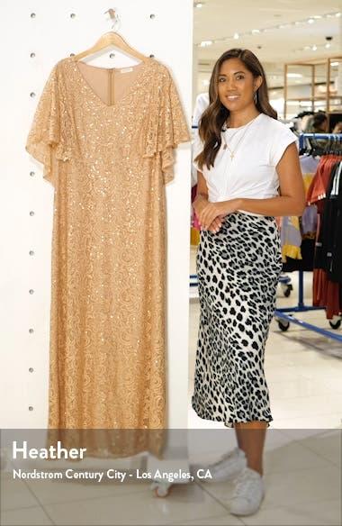 Celestial Cape Sleeve Lace Gown, sales video thumbnail